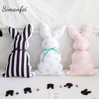 Simanfei ленты кролик сзади Подушка детская комната диван-кровать украшения Подушка с полосой волновой точки дети спят Подушка куклы Подарки