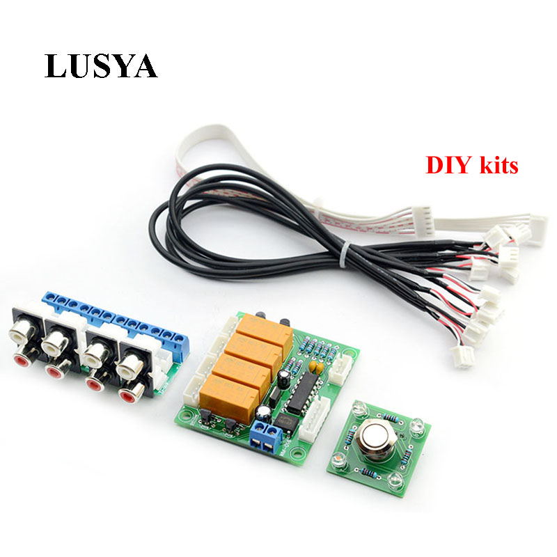 Lusya Relay 4-way Audio Input Signal Selector Switching RCA Audio Switch Input Selection Board DIY kits B7-004 band switching signal switch 3 knives 4 files
