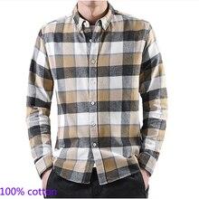 Мужская одежда, весна-осень, Новое поступление, восстановленная хлопковая рубашка с длинными рукавами, Клетчатая Мужская рубашка из чистого хлопка, Размер S-XXXL