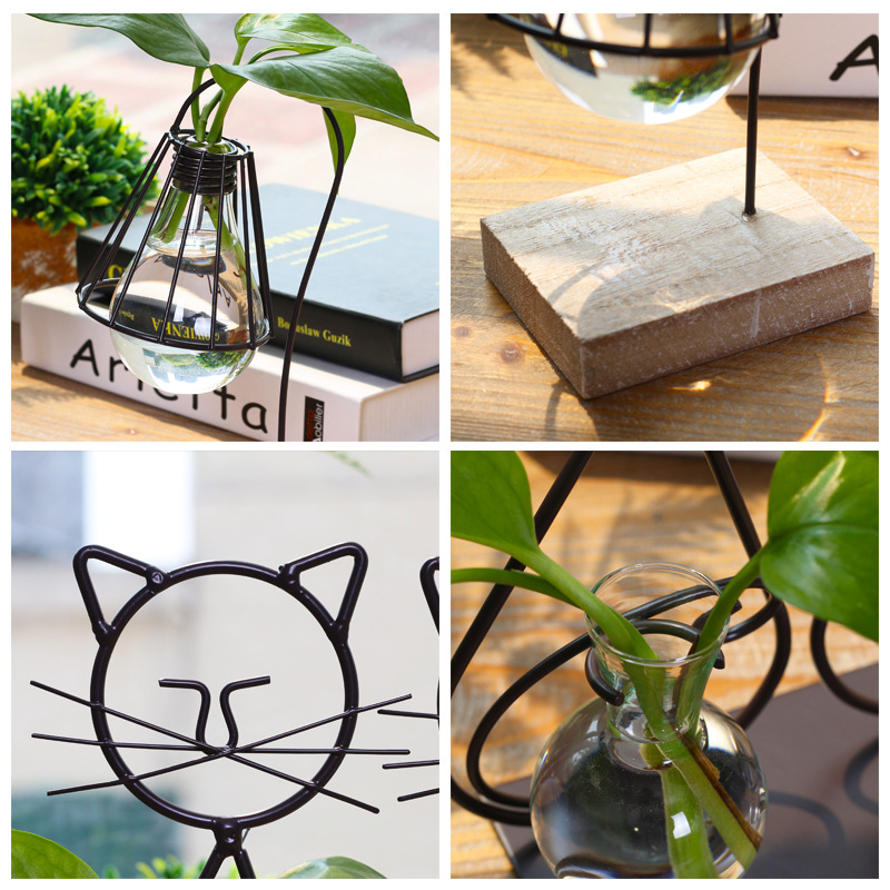 American Style Household Handcraft Cute Cat Water Planting Cafe Shop Figurines Iron Glass Pot Flower Culture Room Home Decor
