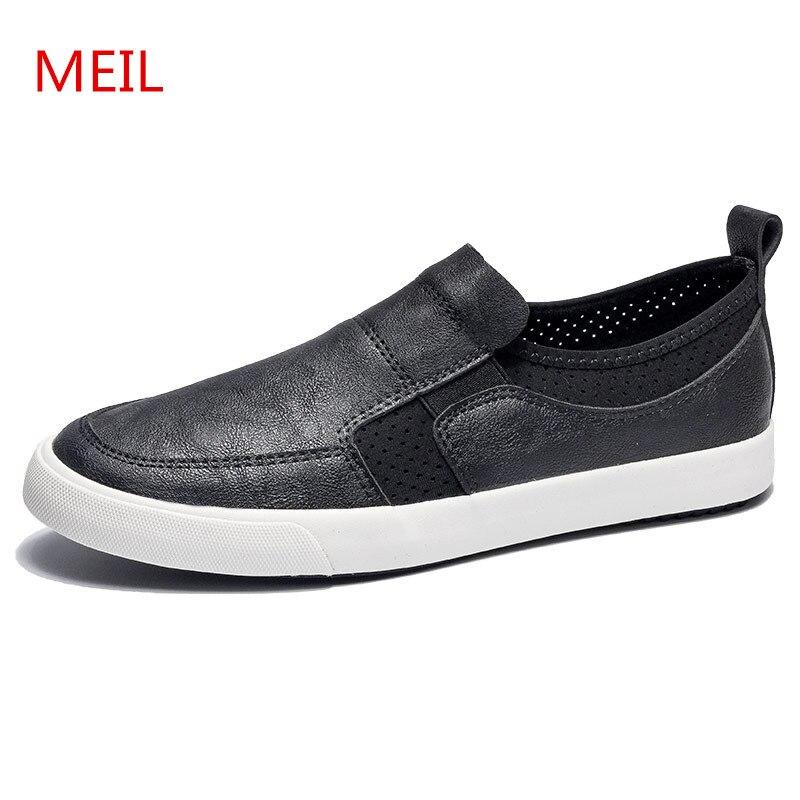 Zapatillas de deporte de malla de cuero informales de marca 2018 para hombre, zapatos de conducción negros transpirables para hombre, zapatillas para caminar, zapatos de barco-in Mocasines from zapatos    1