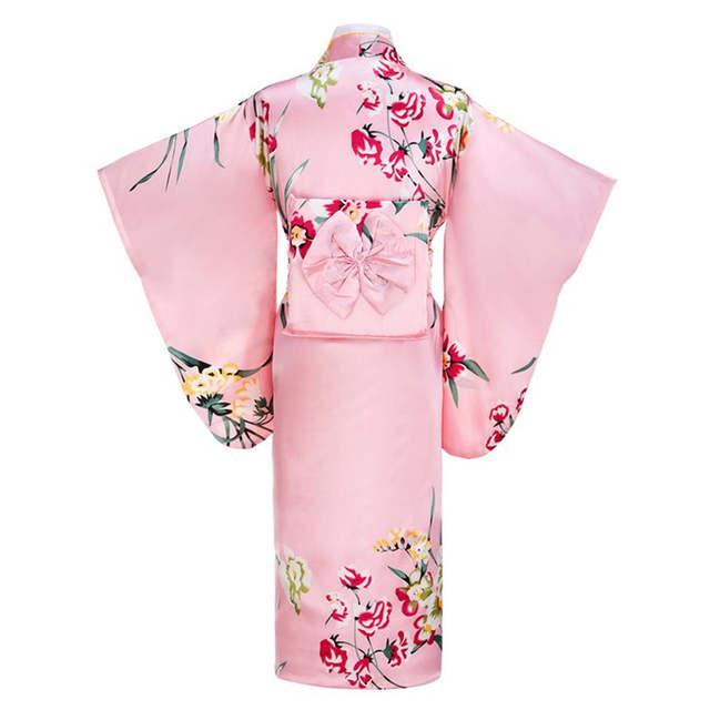 placeholder Pink Japanese Women Fashion Tradition Yukata Silk Rayon Kimono  With Obi Flower Vintage Cosplay Costume Evening 2a989ef9e120