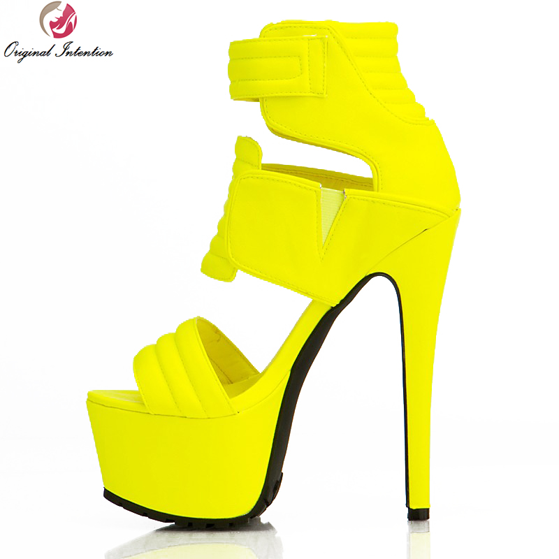 Original Intention New Lively Women Sandals Sexy Hook Loop Open Toe Thin Heels Sandals Fashion Yellow Shoes Woman Plus Size 4-15 lole капри lsw1349 lively capris xs blue corn