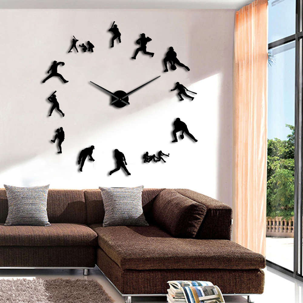 US $13 02 7% OFF|Baseball Wall Clock Frameless DIY Giant Large Wall Clock  3D Watches Mirror Effect Softball Wall Art Decor For Living Room-in Wall