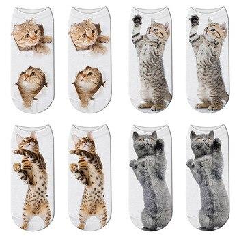 New Arrival Cat 3D Print Socks Women Fashion Unisex Cute Pattern Funny Meias Low Cut Ankle Length Kawaii