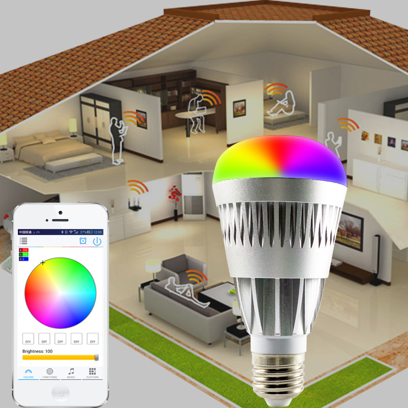 WARFORD E27 10W RGBW led bulb Bluetooth Wireless Changable Color remote 4.0 smart dimmable lighting led light for IOS Android стоимость
