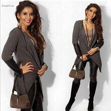 Giraffita Women Leather Patchwork Jackets Coats 2017 Autumn Winter Long Sleeve Black Gray Cardigan Outwear Knitted Jacket Coat
