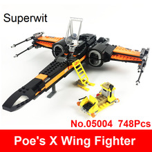 Superwit 05004 Building Blocks Compatible Lepin Star Series War Poe s X Wing Fighter 75102 Figure