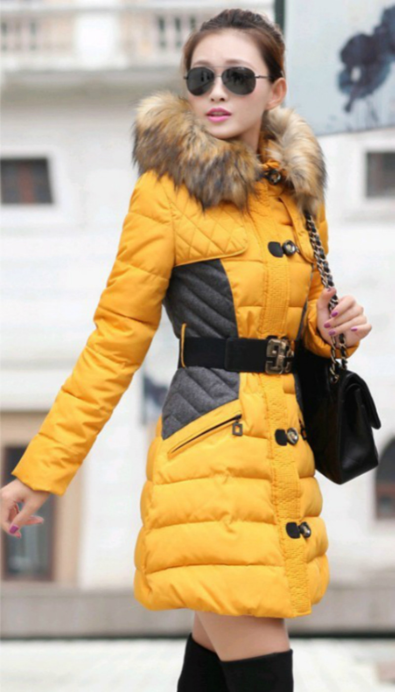 2017  Winter Women Warm Thick Coat Fur Hooded Cotton Parkas Snow Wear Long Tweed Jacket Pocket Style Fashion Outerwear snow wear 2017 high quality winter women jacket cotton coats fur collar hooded parkas fashion long thick femme outwear cm1346