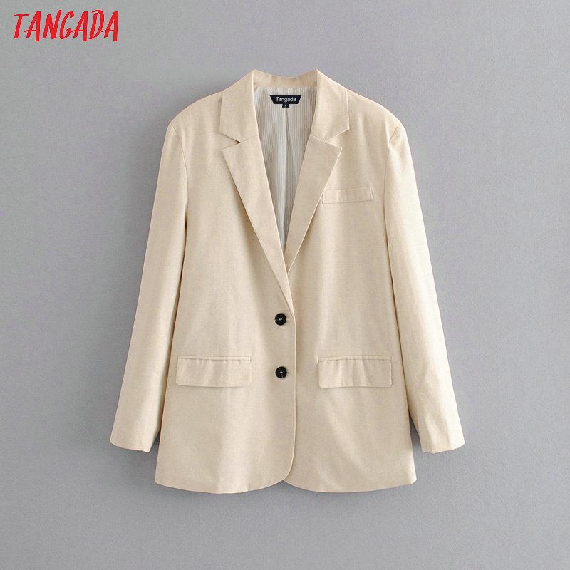 Tangada Women Beige Suit Blazer Jacket Designer 2019 New Arrival Autumn Female Work Business Blazer Pockets Outwear DA100