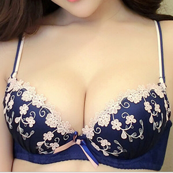 2017 new japanese luxury brand palace eugen dimensional flowers bra and panty set deep V push up sexy underwear set for women
