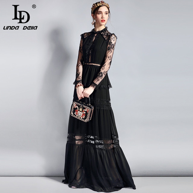 Long Party Dress Women's Long Sleeve Vintage