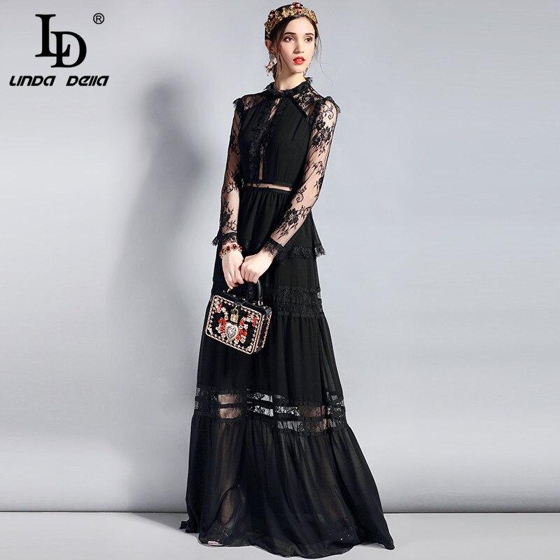 Ld linda della 패션 디자이너 긴 파티 드레스 여성 긴 소매 빈티지 레이스 중공 패치 워크 맥시 블랙 드레스-에서드레스부터 여성 의류 의  그룹 3