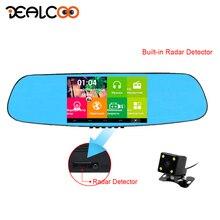 Dealcoo Видеорегистраторы для автомобилей 5′ авто зеркало видео Регистраторы Камера с Android Антирадары gps навигации 3 в 1 два Камера s 1080 P Full HD