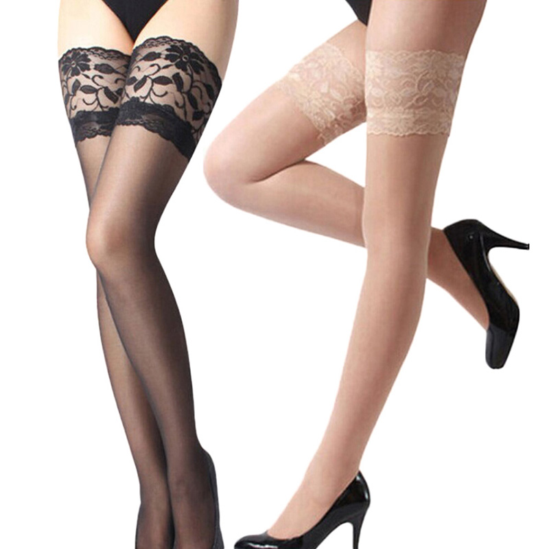 SHEER LACE TOP Thigh High Stockings BLACK O//S