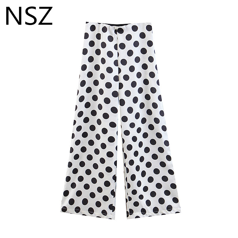 NSZ Women Black and White Polka Dot   Wide     Leg     Pant   Summer Elastic Waist Loose Casual Zipper Full   Pant   Trousers