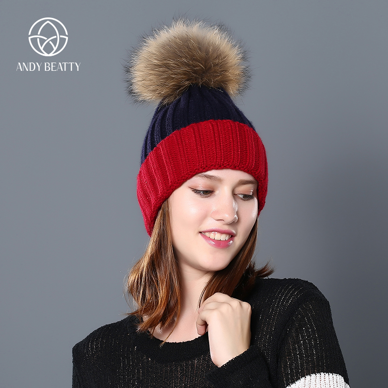 Andybeatty mink fur ball cap pom poms winter hat for women girl 's hat knitted beanies cap brand new thick female cap 2017 new fur ball cap pom poms keep warm winter hat for women girl s hat knitted beanies letter brand new thick female capm 003