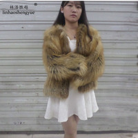 Linhaoshengyue The real natural raccoon fur coat