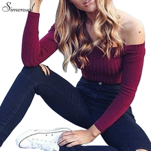 Simenual Autumn Off Shoulder Crop Top T Shirts Hot Sale Long Sleeve Solid Short T-Shirts