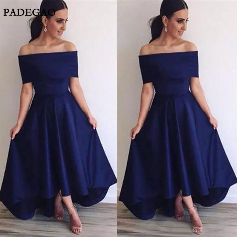 Simple Navy Blue   Evening     Dresses   Long A-Line Off Shoulder Boat Neck Stain High Low Sweep Train   Evening     Dress   Custom Made
