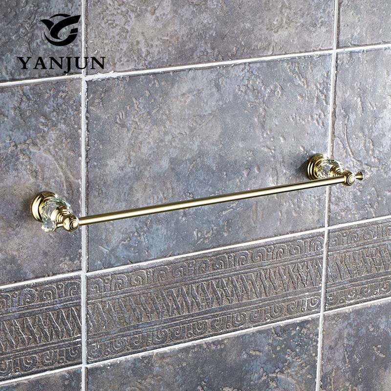 Brass Single Towel Rail Towel Hanger Golden Towel Hanger Chrome Towel Rack 60CM Bathroom Accessories Toalleros YANJUN-8058 цена