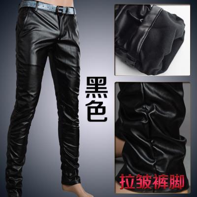 Мотоцикл Клуб Плотно Искусственной Кожаные Штаны Мужчины Горячая Мужская Мода брюки Для Мотоциклов Танцевальные Брюки Для Мужчин Hip Hop Мужчины Брюки - Цвет: black wrinkle