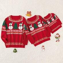 Рождественские Хлопковые вязаные свитера для всей семьи с изображением снеговика и елки осенне-зимняя Рождественская одежда с круглым вырезом и длинными рукавами для родителей и детей