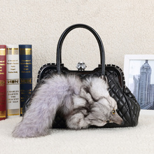 Luxury Designer 100% Genuine Leather Bags Fox Fur bag Famous Brand Women Handbags 2018 sac a main Bag