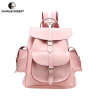 2019 Spring New Arrival High Quality Leather Backpack Women Lady Belts Preppy Style Handmade leather Solid Backpack