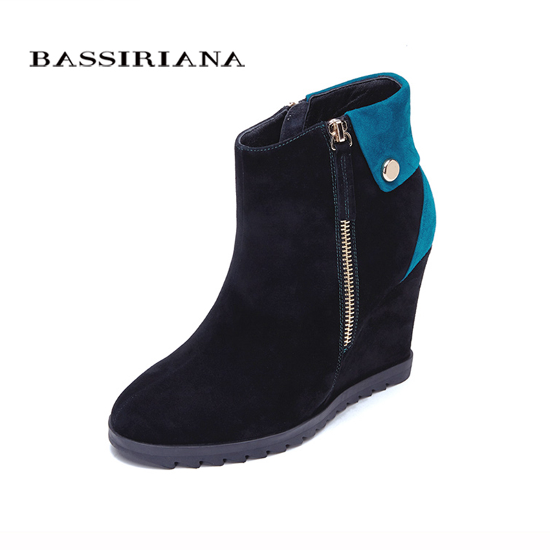 BASSIRIANA - genuine suede leather Wedges heels Winter ankle boots for woman Slip-op platform winter shoes 35-40 Free shipping bassiriana knee high boots suede women winter shoes for woman comfortable high heels shoe 35 40 free shipping