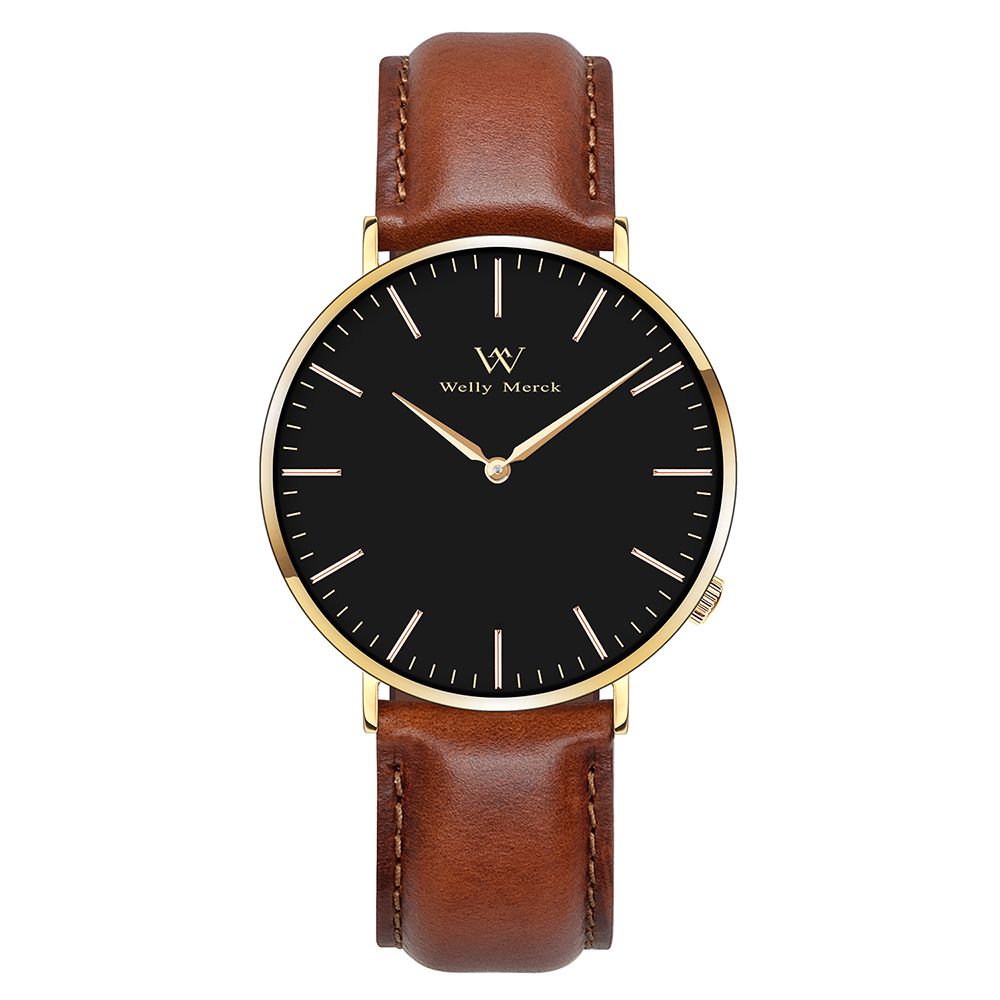 Welly Merck New Top Luxury Men's Watches Ultra Thin Stainless Steel Band Quartz Wristwatch Fashion Casual Watches