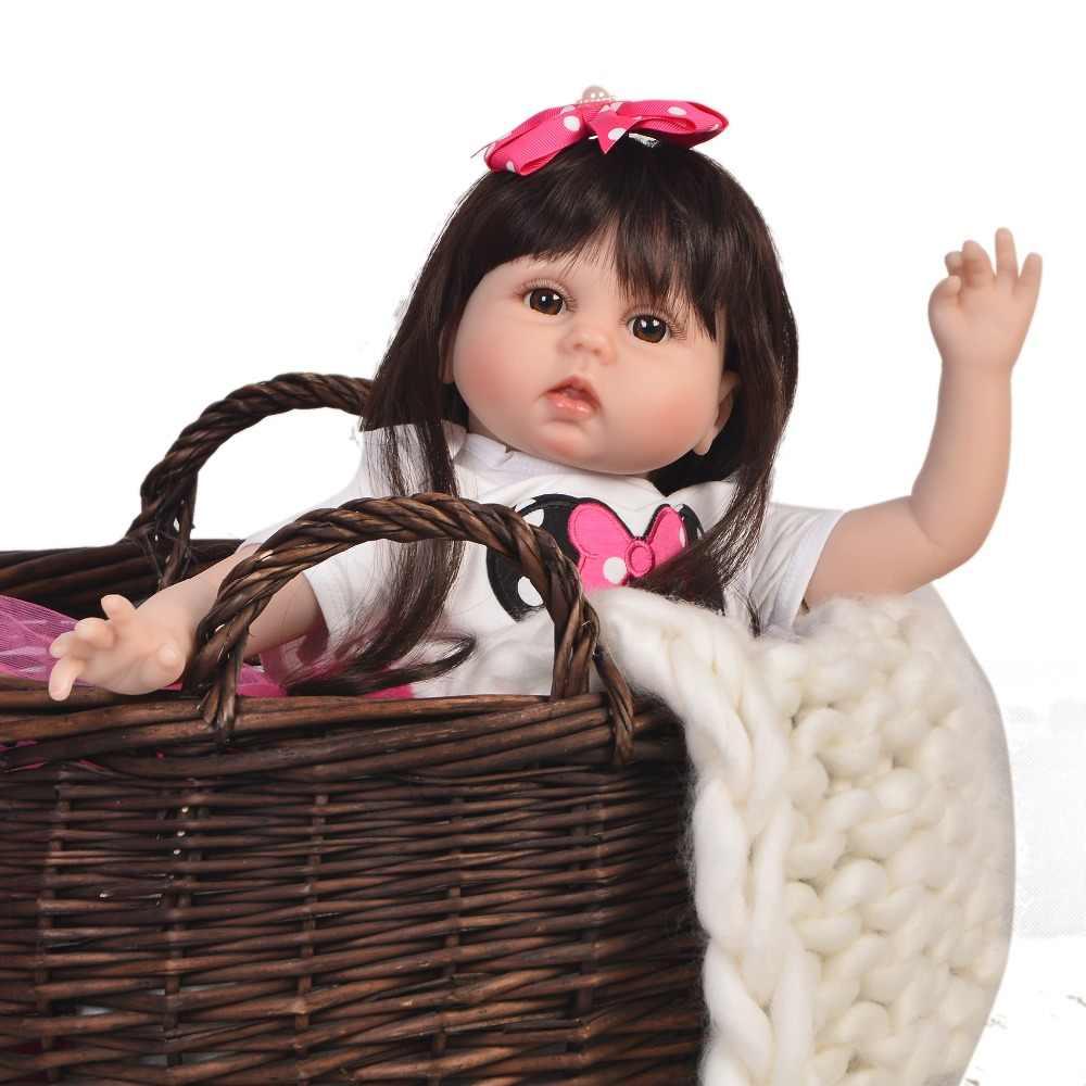 Keiumi 55 cm renascer bebê menina de silicone macio brinquedo recém nascido para a menina 22 22 lifelifelike reborn bebê boneca pano corpo crianças presentes de natal