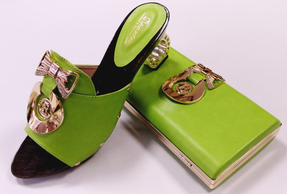 ФОТО Amazing design of African woman high heel shoes match bag with good quality shoes heel 7CM GREEN COLOR AND BIG SIZE 43