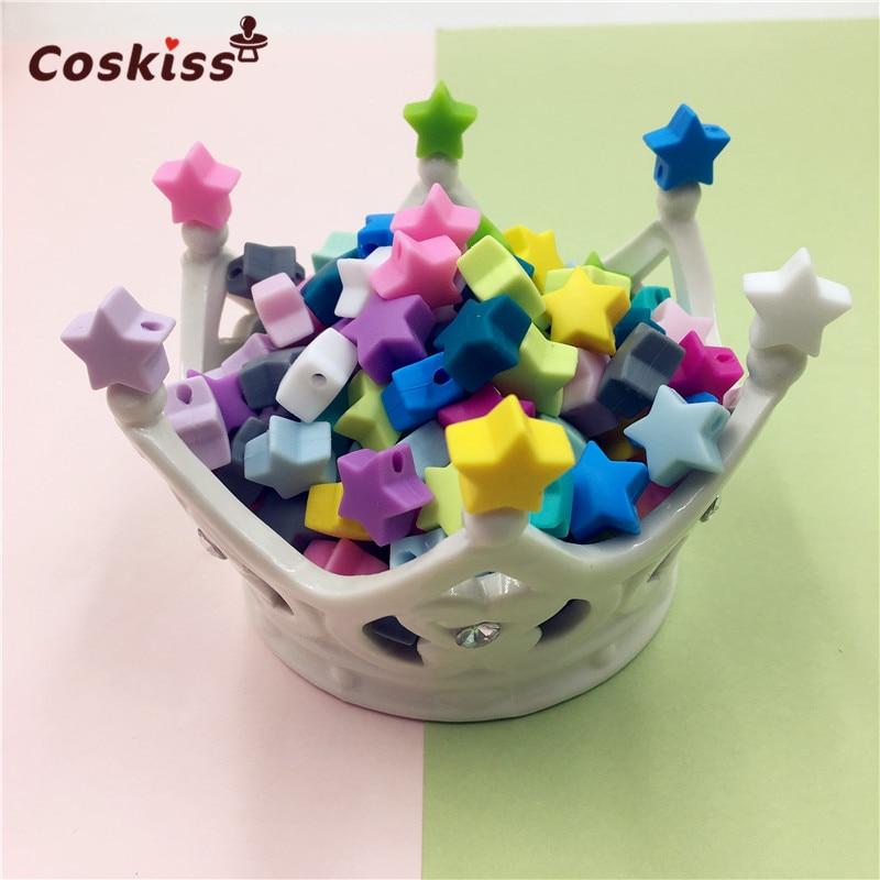 Silicone Beads Star Shape 10pcs 14mm Food Grade Teether BPA Free Ecofriendly Beads Bracelet Diy Jewelry Baby Teether