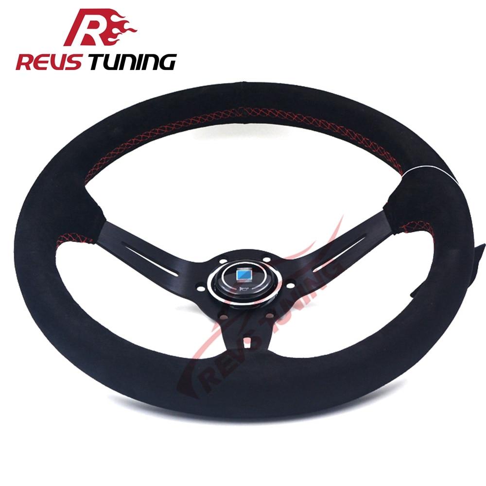 14 350mm Deep Corn ND Black Color Racing Sport Suede Steering Wheel