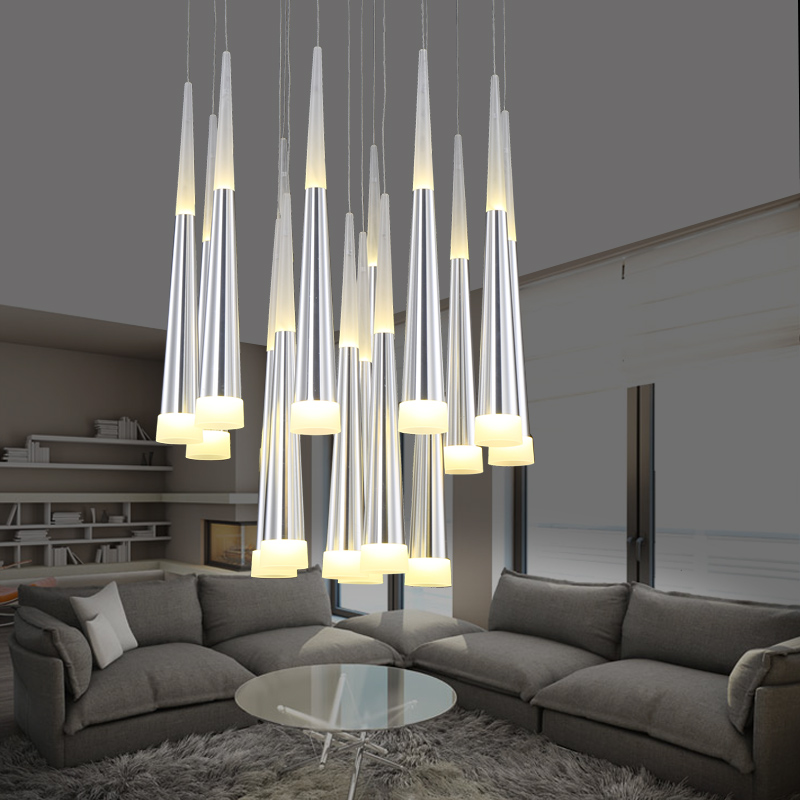 Modern LED meteor shower fishing line acrylic pendant light bar dining room restaurant coffee shop art droplight 110-240v