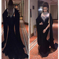 Longo vestido de baile 2016 Incrível Sereia Preto vestidos de formatura Robe De Soirée Cristal Frisado Mulheres vestidos de baile