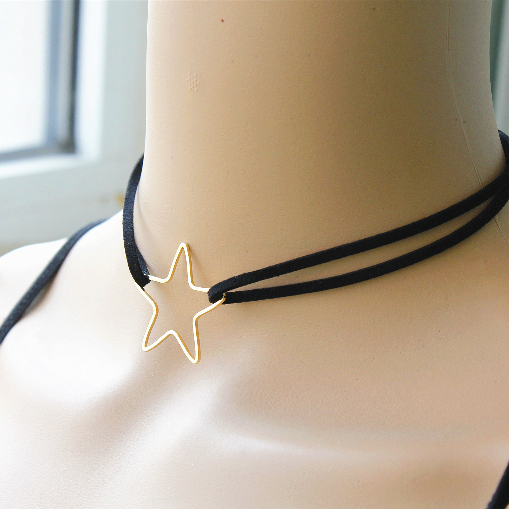 2017 New Fashion Jewelry Leather With Star 1 3 X1 3 Choker 13 Short Necklace Gift