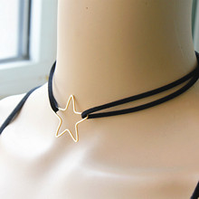 2017 New Fashion Jewelry Leather With Star 1.3″X1.3″ Choker 13″ Short Necklace Gift For Women Girl EE89