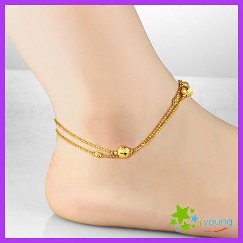 563aef92553 Famous Brand Womens Anklets 18k Gold Filled Feet Bracelet Dull Polish Lucky  Beads Ankle Chain Leg Jewelry Bridal Gift Wholesale