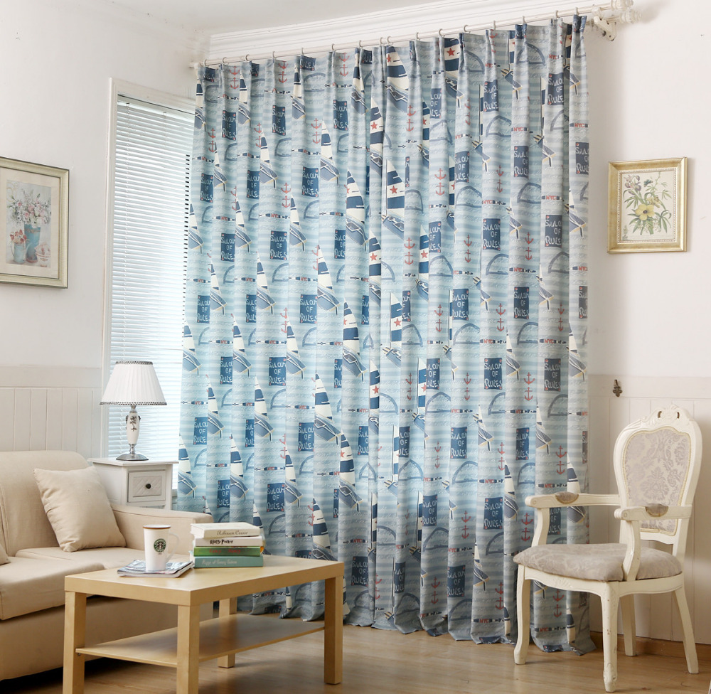 Printed curtains living room - New Pastoral Printed Curtains Blue Sailing Cloth Fabric Living Room Balcony Bedroom Curtains