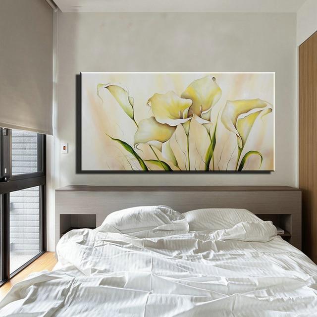 Fresh Abstract acrylic calla lily kitchen large canvas wall art handmade  DZ89
