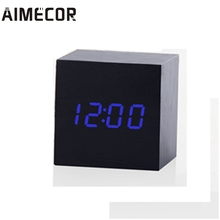Aimecor alarm clock projector Modern Wooden Digital LED Desk Alarm Clock with Thermometer Timer Calendar*30 GIFT 2017