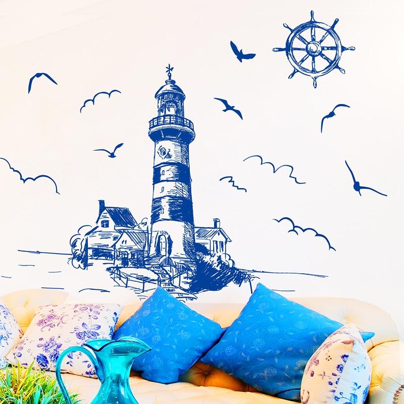 [SHIJUEHEZI] Blue Color fyr Birds Wall Sticker PVC Material DIY - Heminredning - Foto 2