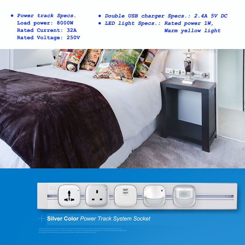 JOHO 60CM Aluminum Alloy Track Wall Socket 3 Colors 8000W EU Standard Electrical Plug Socket Power Outlet Panel 250V in Electrical Sockets from Home Improvement