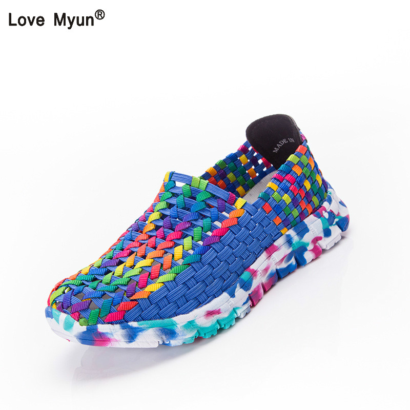 Women Shoes Summer Flat Female Loafers Women Casual Flats Woven Shoes Sneakers Slip On Colorful Shoe Mujer Plus Size 41