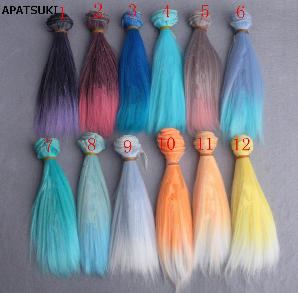 1pc 15*100cm Length Gradient Color Thick Wig For 1/3 /1/4 1/6 BJD Wigs Doll Hair High Temperature Wire