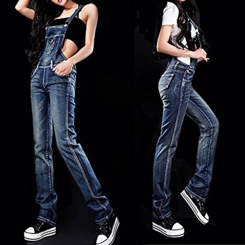 FS Hot Cinta Macacão Jeans Suspender Jumpsuit das Mulheres S