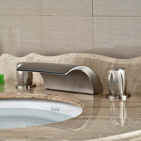 Round Handles Waterfall Bathroom Basin Faucet   Hot and Cold Mixer Water Taps Deck Mount Brushed Nickel wall mounted dual handle waterfall basin faucet brushed nickel hot and cold wash basin mixer taps