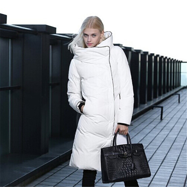 Thicken Winter Jacket Women Warm Long White Goose Down,Solid Color ...